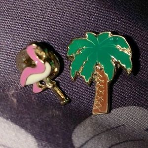 Other - Tropical flamingo bird & palm tree enamel pins